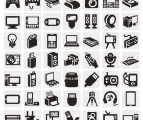 Huge collection of Black and white icons vector 02