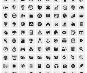 Huge collection of Black and white icons vector 04