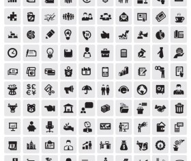 Huge collection of Black and white icons vector 05