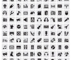 Huge collection of Black and white icons vector 06