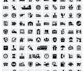 Huge collection of Black and white icons vector 08