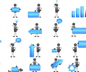 3D Little people and Billboard vector 02