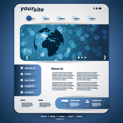 Web Design Templates Free Download: Blue Style Website Template Vector 01 Free Download