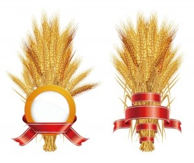Golden Wheat with Ribbon vector