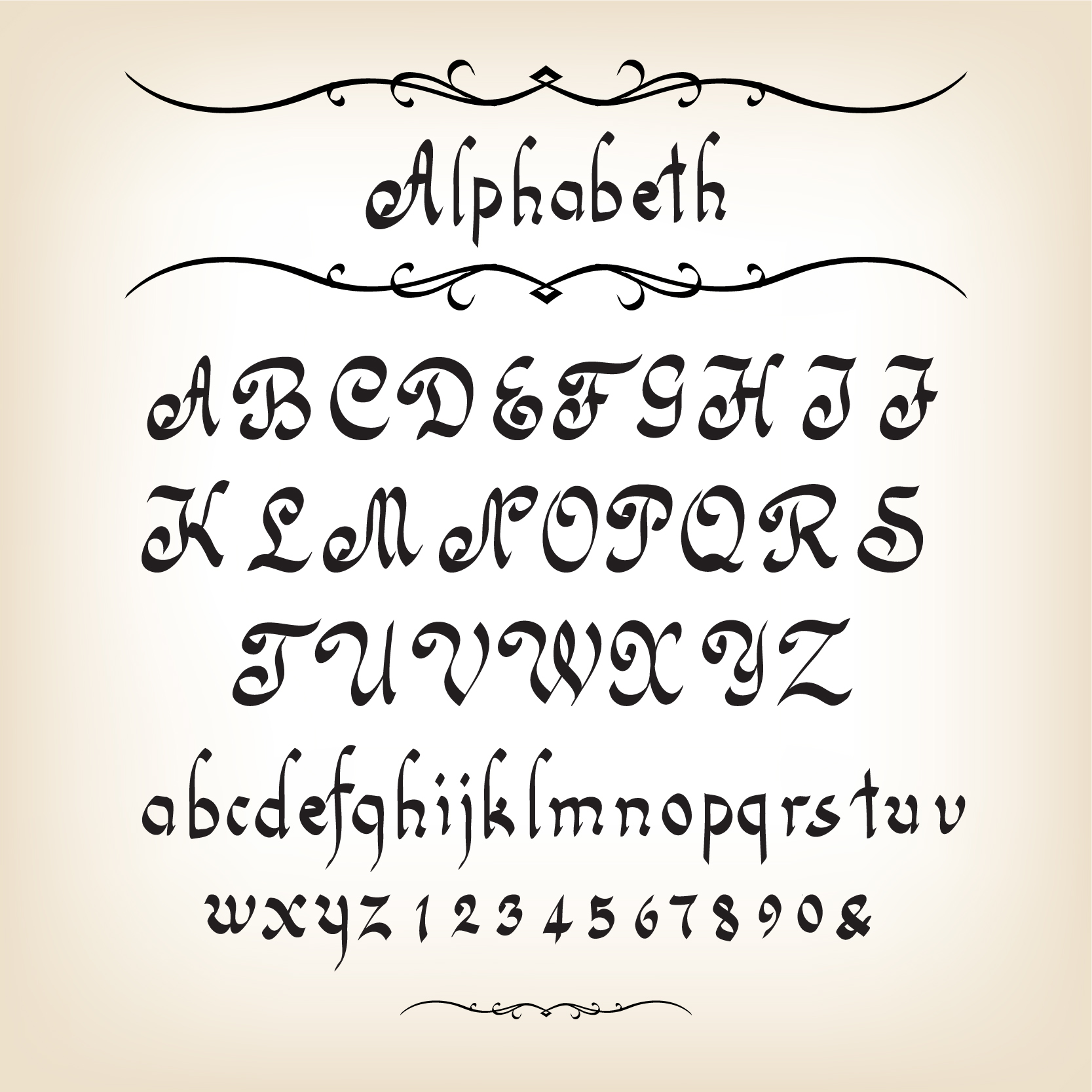 Hand drawn Alphabets design vector 04 - Vector Font free download