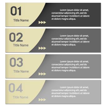 Numbers Banners design vector set 02