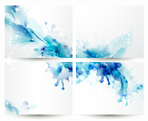 blue flower backgrounds vector-#18