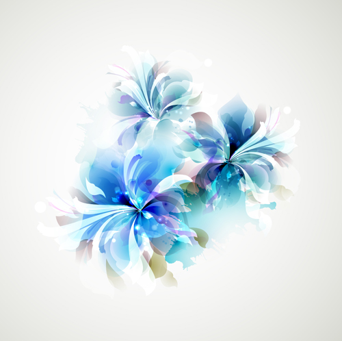 blue flower backgrounds vector-#8