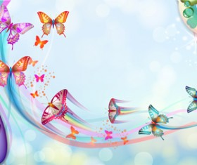 Butterflies with music vector background 01