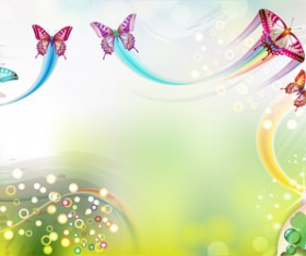 Butterflies with music vector background 02
