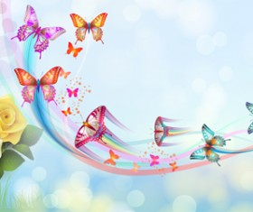 Butterflies with music vector background 03