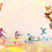 Link toButterflies with music vector background 04