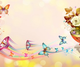 Butterflies with music vector background 04