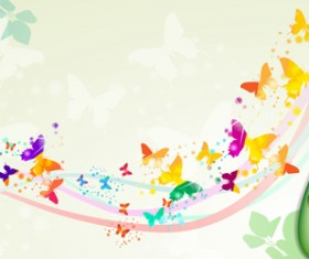 Butterflies with music vector background 05
