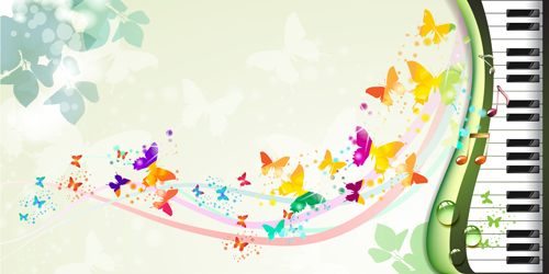 Butterflies with music vector background 05 - Vector ...