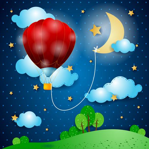 Cartoon Night vector 0...