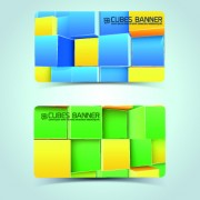 Link toColored cubes banner card design vector 01