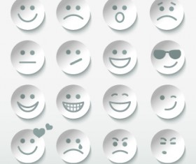 Different Face Expression icon vector 03