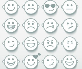 Different Face Expression icon vector 04