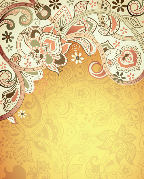 Floral Patterns retro style background 01