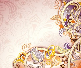 Floral Patterns retro style background 02