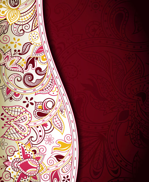 Floral Patterns retro style background 05