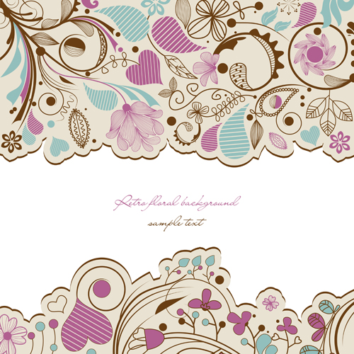 Hand drawn Floral background 01 - Vector Background, Vector Floral ...