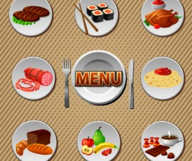 Various Food and drink design vector 04