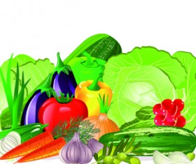 Fresh vegetables vector set 01