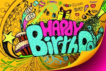 Funny Happy Birthday vector background 03