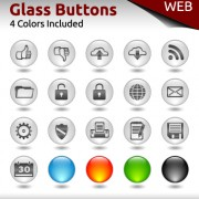 Link toGlass buttons for web design vector 04