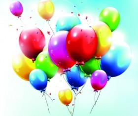 Colored Happy Birthday balloons vector 01