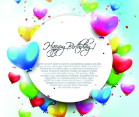 Colored Happy Birthday balloons vector 03