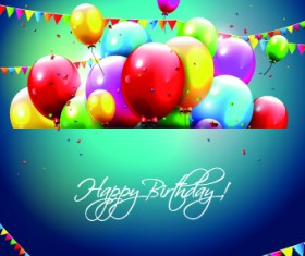 Colored Happy Birthday balloons vector 05