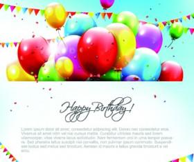 Colored Happy Birthday balloons vector 06