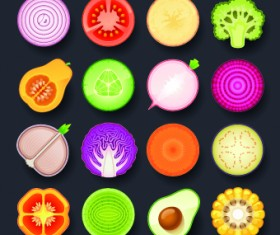 Vivid food icon design vector 02