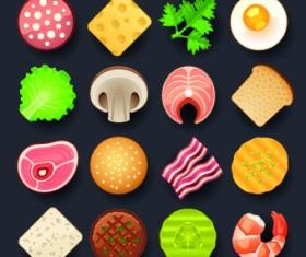Vivid food icon design vector 03