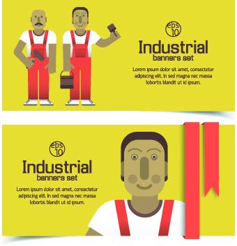 Funny Industrial banner vector set 01