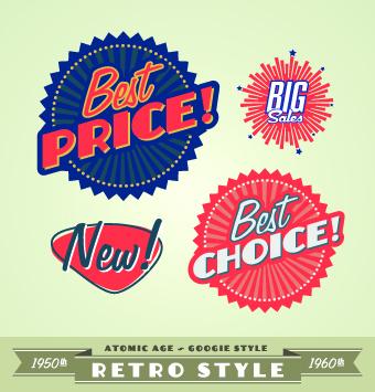 Sale Labels retro style vector 01