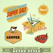 Link toSale labels retro style vector 02