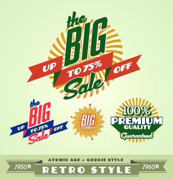 Sale Labels retro style vector 03