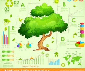Nature Style Infographics design vector 01