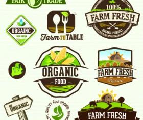 Organic food logos and labels vector 04
