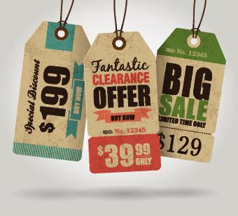 Vector Vintage Price tag set 05 - Vector Label free download