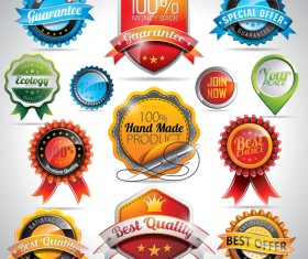 Shiny Quality Labels vector 02