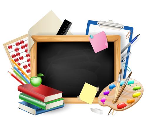 School supplies elements background vector 01