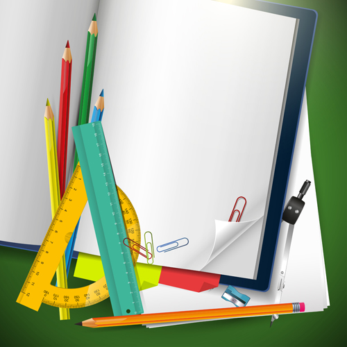 School supplies elements background vector 02