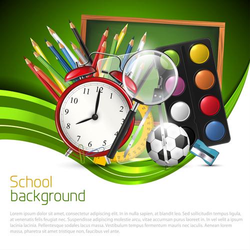 School supplies elements background vector 03