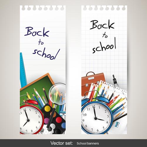 School supplies elements background vector 04