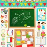 Link toSchool supplies elements background vector 05